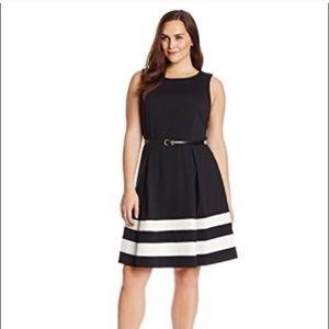 Calvin Kelin B&W midi dress sleeveless stripes 8